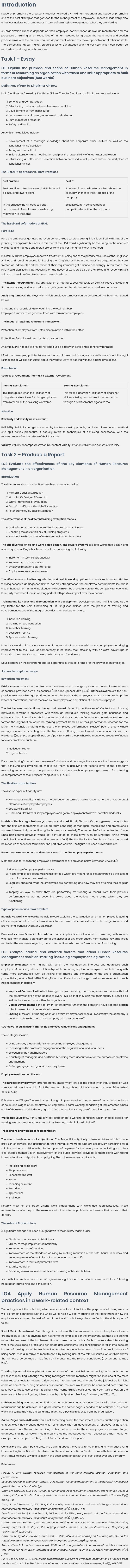Unit 3 Human Resource Management Assignment Help