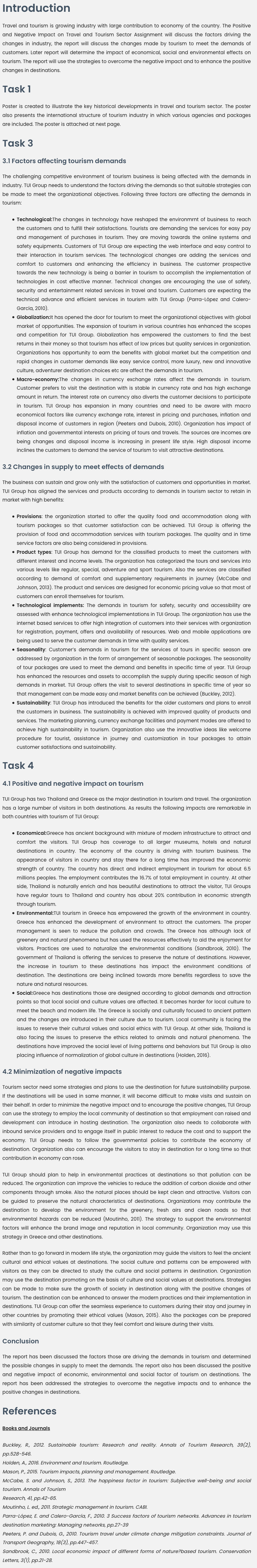 Positive and Negative Impact on Travel and Tourism Sector Assignment