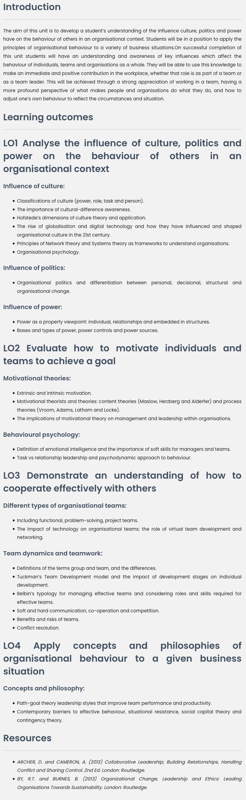 Unit 12 Organisational Behaviour Assignment Help