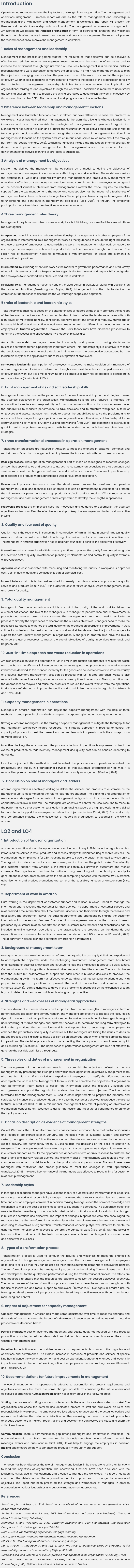 Unit 4 Management and Operations Assignment on Amazon Company