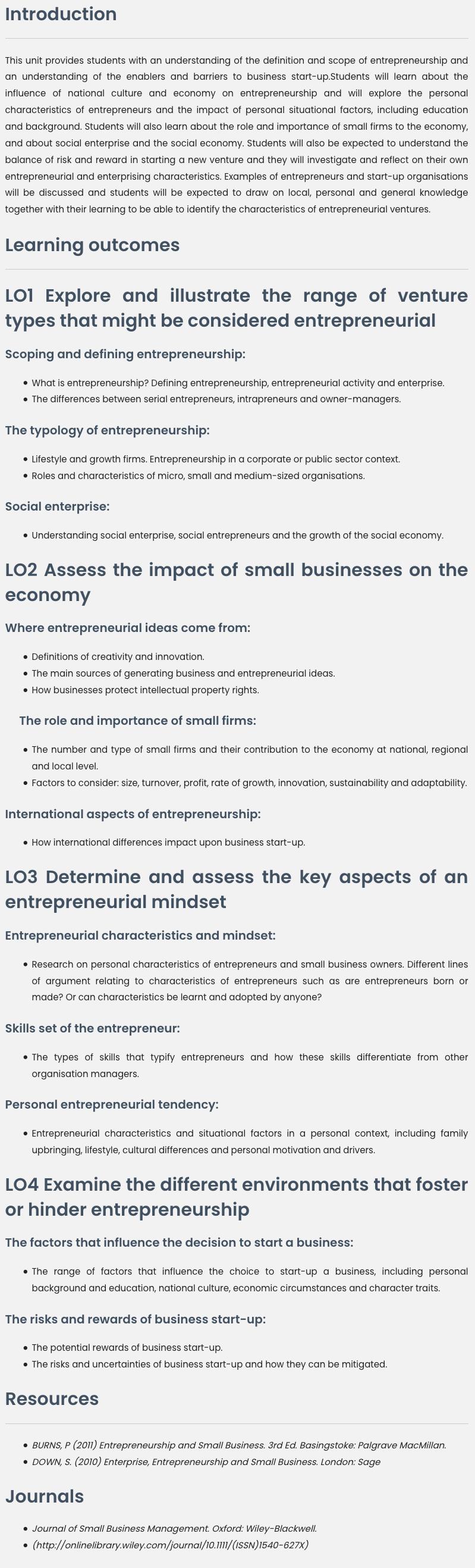 Unit 9 Entrepreneurship And Small Business Management